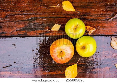 Three Wet Golden Green Apples Covered By Water Drops On Top Of Brown Wet Natural Old Wooden Table Su