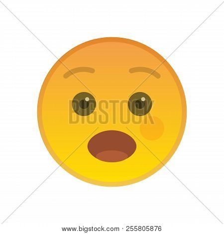 Surprised Emoticon Isolated On White Background. Wonder Yellow Emoji Symbol With Opened Mouth. Socia