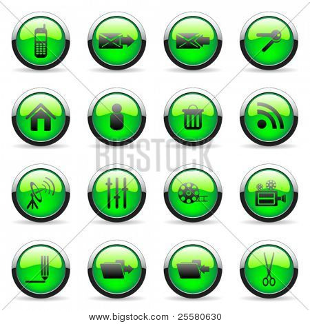 Green vector media and web icon (set 6)