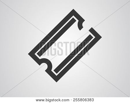 Ticket Icon Illustration In The Flat Style. Ticket Stub Isolated On A Background. Retro Cinema Or Mo