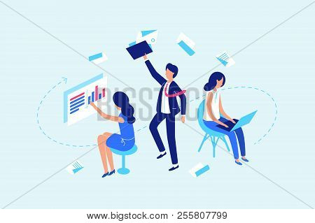 Workflow, Work With Documents And Data. Group Of Office Workers Busy. Vector Illustration