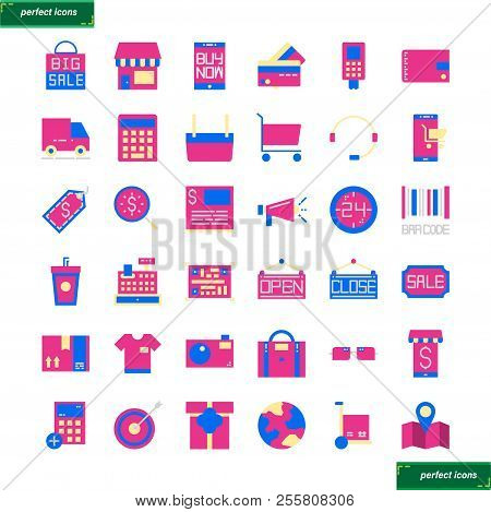Shopping And Ecommerce  Flat Icons Set Perfect Pixel. Use For Website, Template,package, Platform. C