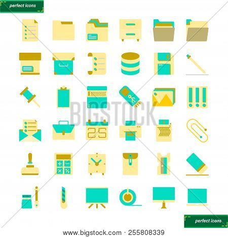 Office Supply  Flat Icons Set Perfect Pixel. Use For Website, Template,package, Platform. Concept Ob
