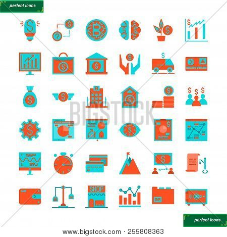 Banking And Financial  Flat Icons Set Perfect Pixel. Use For Website, Template,package, Platform. Co