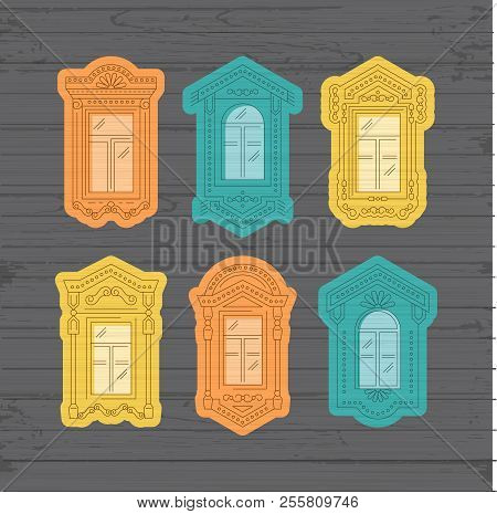Retro Window Icon, Window Vintage Frames. Collection Of Windows On A Wooden Wall. Isolated Thin Line