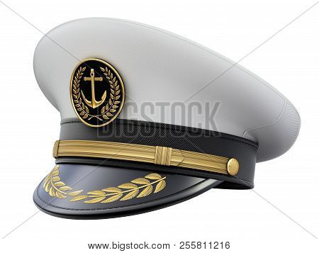Navy Captain Hat Isolated On White Background - 3d Illustration