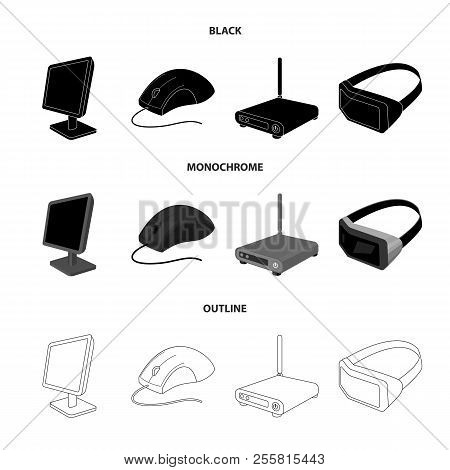 Monitor, Mouse And Other Equipment. Personal Computer Set Collection Icons In Black, Monochrome, Out