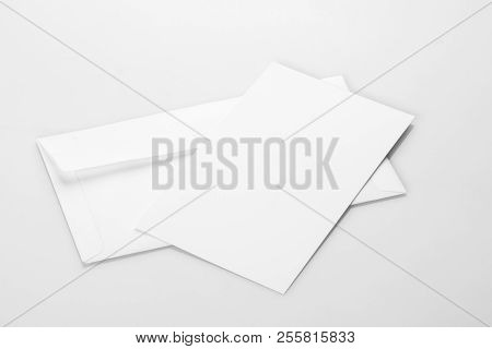 Blank White Envelope Mockup With An Invitation Card