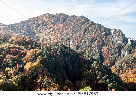 Autumn Sulovske Skaly Mountains In Slovakia With Colorful Forest And Rock From Hricovsky Hrad Castle
