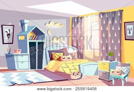 Kids Room Modern Interior Vector Illustration Of Bedroom Furniture In Scandinavian Style. Cartoon Co