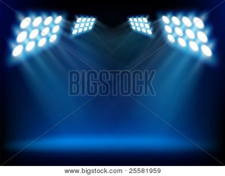 Spotlights from a stage