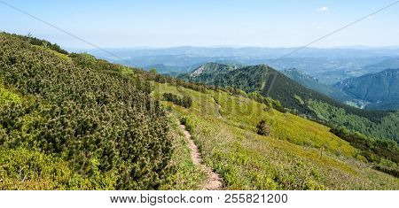 Mala Fatra Mountains In Slovakia Bellow Sedlo Bublen With Hiking Trail, Kraviarske, Sokolie And Othe