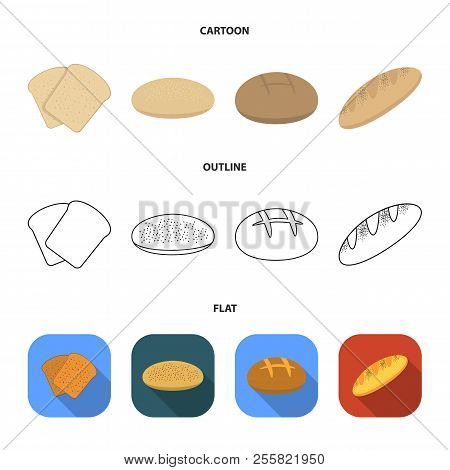 Toast, Pizza Stock, Ruffed Loaf, Round Rye.bread Set Collection Icons In Cartoon, Outline, Flat Styl