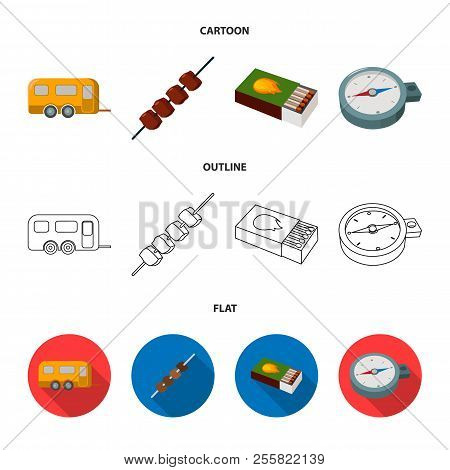 Trailer, Shish Kebab, Matches, Compass. Camping Set Collection Icons In Cartoon, Outline, Flat Style