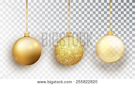 Gold Christmas Tree Toy Set Isolated On A Transparent Background. Stocking Christmas Decorations. Ve