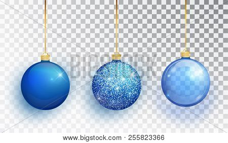 Blue Christmas Tree Toy Set Isolated On A Transparent Background. Stocking Christmas Decorations. Ve