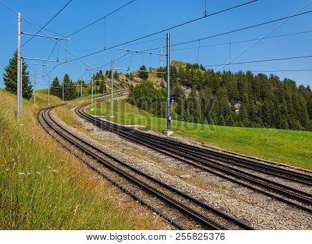 Rack Railway On Mt. Rigi In Switzerland In Summer. Mt. Rigi Is A Popular Tourist Destination, Access