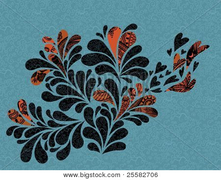 Vintage patterned swirl in graphic black and brown, on blue pattern background