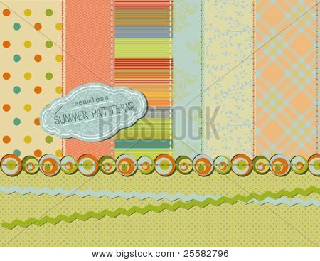 Set of seamless summer patterns, with matching stitches, ribbons, borders, and label (also a bright and sunny background)