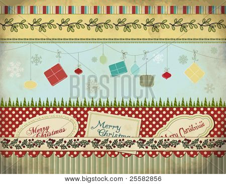 Christmas Set: Background, Borders, Labels, Gifts and Ornaments, Gypsy Style