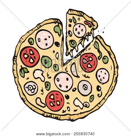 Pizza with cut piece. freehand drawing. Vector Sketch Illustration. Line art. Doodle art. poster