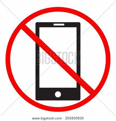 No Phone Sign On White Background. No Mobile Phones Icon Design For Your Web Site Design, Logo, App,