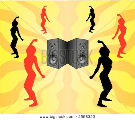 Sounds Of Music And Silhouettes Of Dancing Girls.Eps