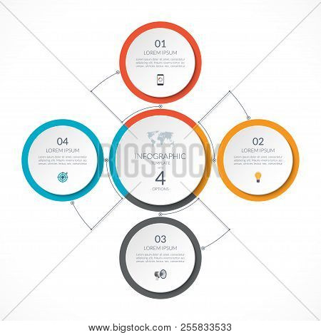 Infographic Circle With 4 Options. Can Be Used For Graph, Diagram, Chart, Presentation, Report, Web