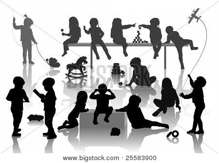 14 children playing with some deferent toys