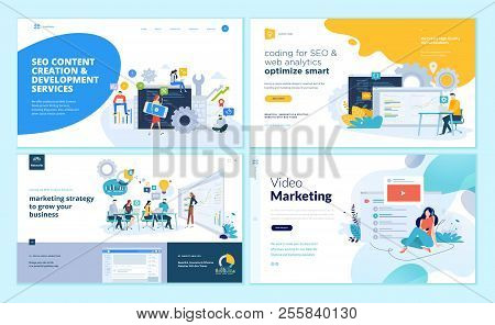 Set Of Web Page Design Templates For Web And Mobile Apps, Seo, Marketing Strategy, Video Marketing.