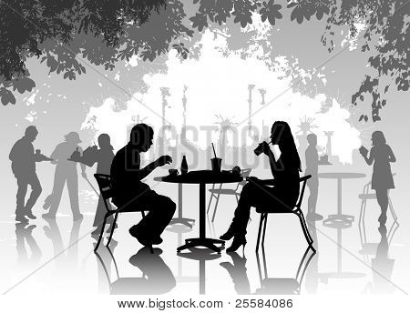 Street cafe with resting people