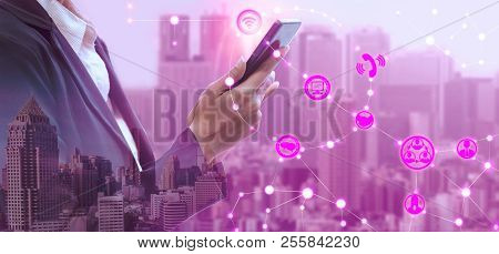 Mobile Phone Network And Wireless Communication Concept - Internet Of Things ( Iot ), Information Co
