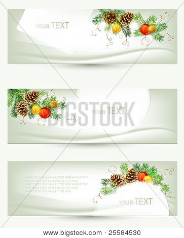 set of three light Christmas banners with vitality cones , fir tree and balls