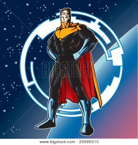 Super hero with cape above a planet.
