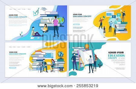 Set Of Templates Web Page Design. Education, Online Education, E-learning Modern Flat Design Concept