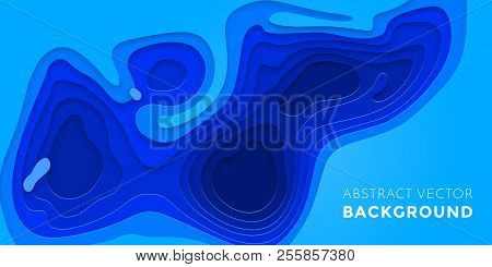 Papercut geometric topography poster or paper cut liquid geometric gradient pattern with blue 3D multi layer banner background poster