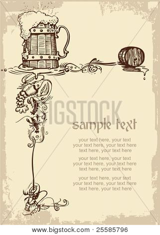 card design with woody beer mug, cancers and place for text