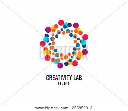 Creativity Lab Logo. Bubbles Or Dots Vector Icon. Creative Design Studio Logo. Business Company Bran