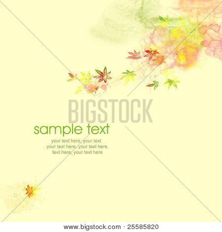 Painted watercolor card design with stylized autumn maple leaves and text