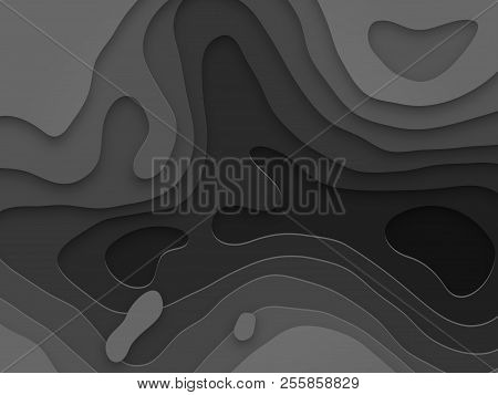 Abstract papercut and black color multi layer pattern on vector gray anthracite gradient background poster