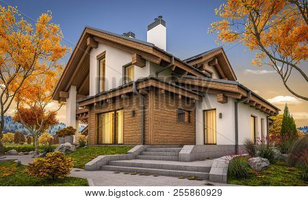 3D Rendering Of Modern House In Evening Autumn