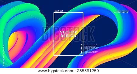 Modern Colorful Liquid Shapes With Motion And 3d Effect. Abstract Fluid Background With Neon Element