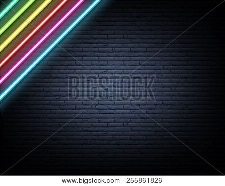 Colorful neon luminous strips on grey realistic bricklaying wall poster
