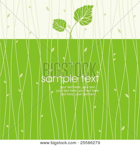 card with stylized leaf