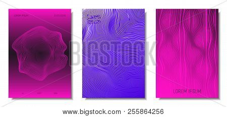 Wave Lines. Abstract Covers With Movement And Distortion Effect. Flowing Striped Background. Trendy