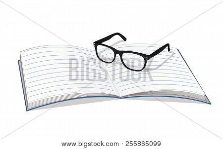 8faaacc132 Copybook and glasses isolated on white backdrop vector illustration eyeglasses  black frame