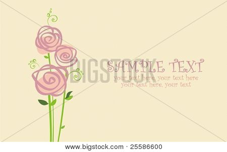 vector card with stylized roses and text