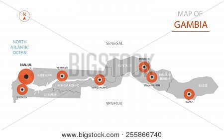 Stylized Vector Gambia Map Showing Big Cities, Capital Banjul, Administrative Divisions And Country