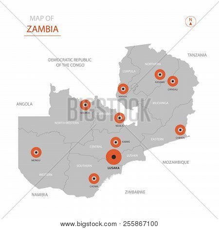 Stylized Vector Zambia Map Showing Big Cities, Capital Lusaka, Administrative Divisions And Country