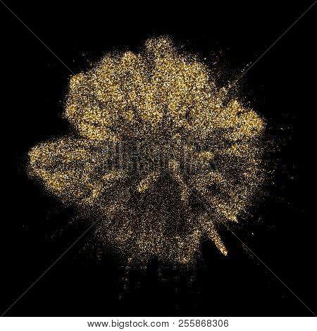 Golden Glitter Explosion Blast With Gold Shiny Particles Splatter. Vector Gold Glare Firework Explod